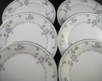 Noritake China Morning Poem Pattern Bread and Butter Plates
