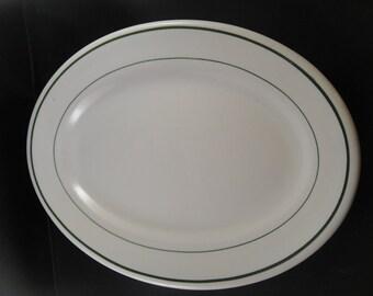 Buffalo China Platter Restauran Ware White with Green Bands