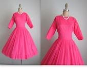 50's Chiffon Dress //  Vintage 1950's Hot Pink Chiffon Cocktail Party Prom Dress XS