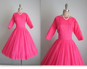 50's Chiffon Dress //  Vintage 1950's Hot Pink Chiffon Cocktail Party Prom Dress XS