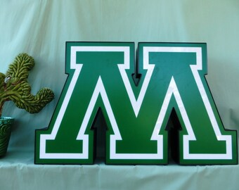 Vintage Marquee Sign Letter Capital 'M' / 'W': Large Green & White Wall Hanging Initial -- Neon Channel Industrial Advertising Salvage