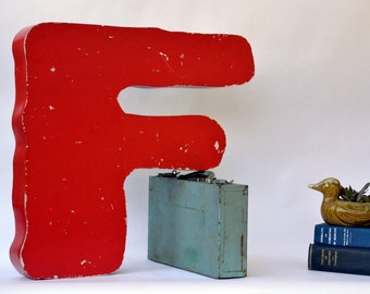 Vintage Marquee Sign Letter Capital 'F' in Unusual Font: Very Large Red Metal Wall Hanging Initial - Neon Channel Advertising Salvage
