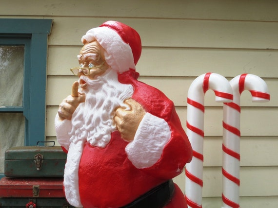 48 Whispering Santa Claus Christmas Blow Mold Large Red