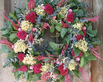 Dried Flower Wreath with Pink Cockscomb and Hydrangea