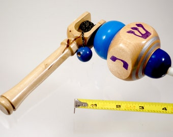 Toy top. Wood spinning top with handle. Handmade heirloom toy.