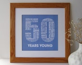 Personalized 50th Birthday Print - Personalised Birthday Print - Birthday Print for Her - Birthday Print for Him