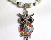 Jeweled Owl Necklace Set, Colorful, Silver, Jeweled Owl Pendant Necklace in White Pearl, Owl Jewelry, 2 Piece Set
