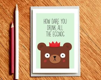 Funny Holiday Cards, Funny Christmas Card, Bear Xmas Card, Funny Holiday Cards, Xmas Card For Dad, Xmas Card For Mom, Xmas Card For Him