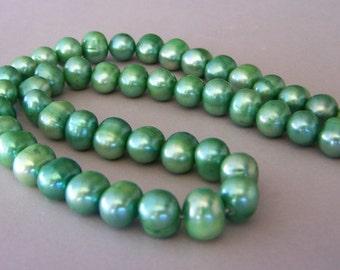 Khaki green freshwater pearls, 10mm, light green freshwater pearls, pistachio green pearls, 16 inch strand