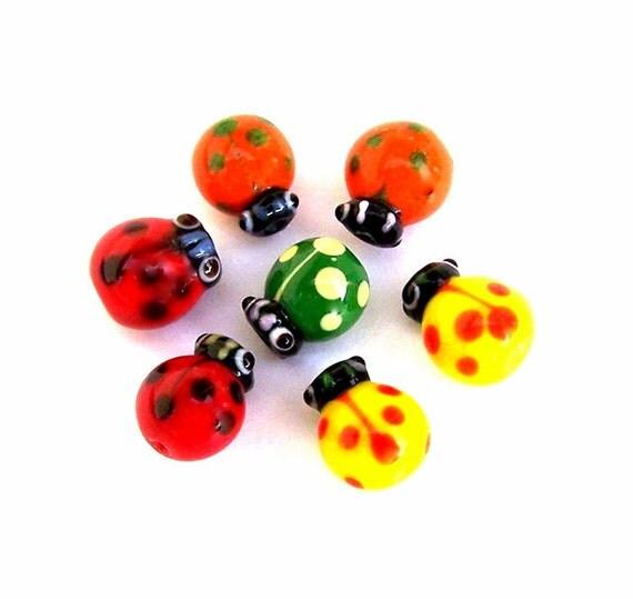 Multicolor ladybug bead pairs, lampwork glass, tiny, 12x11mm, qty 7