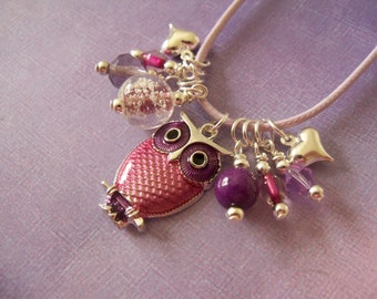 Girl Owl Necklace, Glow in the Dark, Charms, Beads