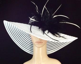 Derby Hat,Kentucky Derby Hat with Polka Dot hat band,Dress Hat, Fascinator, Wide Brim Hat ,Wedding Hat,Tea Party Hat ,Ascot hat