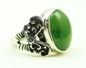 Jade Butterfly Ring, Handmade Sterling Silver, Engraved, Green, Engagement or Wedding Ring, Vintage, Antique Inspired