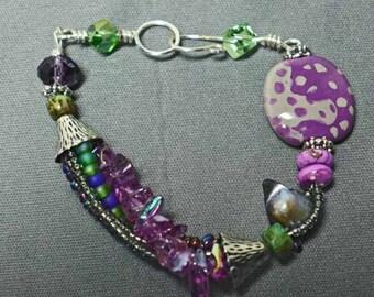 Purple and Green Handmade Kazuri Bracelet