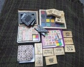 Box Lot of Rubber Stamps & Ink Pads