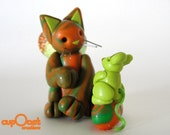 Friendship - A Little Orange Fairy Cat and his Green Mouse Friend