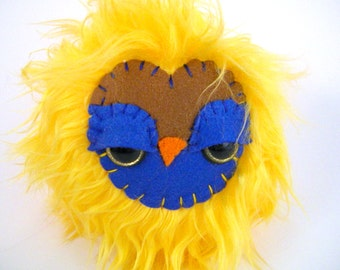 Sale - Stuffed Owl Toy - yellow and royal blue stuffed animal toys
