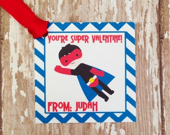 24 super hero valentine's tags, boy valentines tags, custom boy valentine, blue chevron hang tags