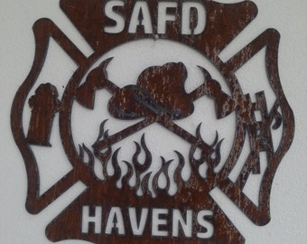 CUSTOM Fire Department Maltese Cross Recycled Steel rustic fire emblem