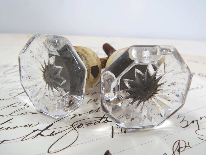 2 Vintage Cut Glass Drawer Pulls Knobs Daisy Flower Design