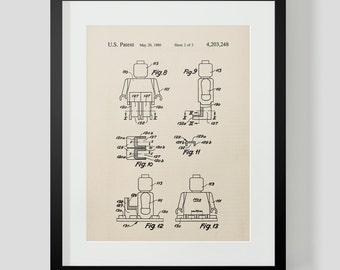 Vintage Lego Figure 3 Patent Print