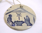 5 Ceramic Nativity Silhouette Christmas Ornament or Gift Tag
