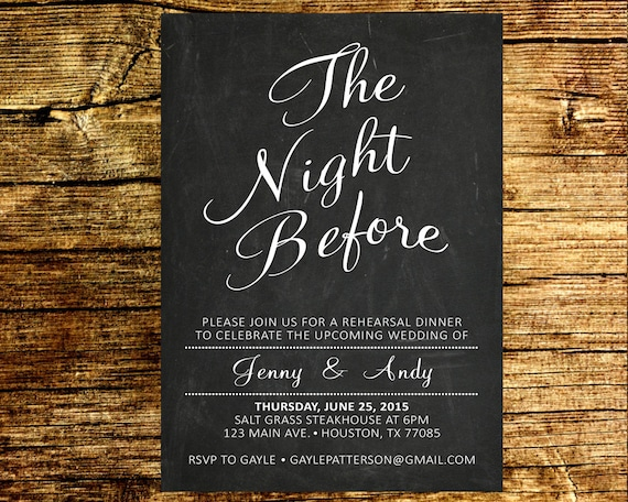 Who Do You Invite To Wedding Rehearsal Dinner: The Night Before Rehearsal Dinner Invitation / Wedding