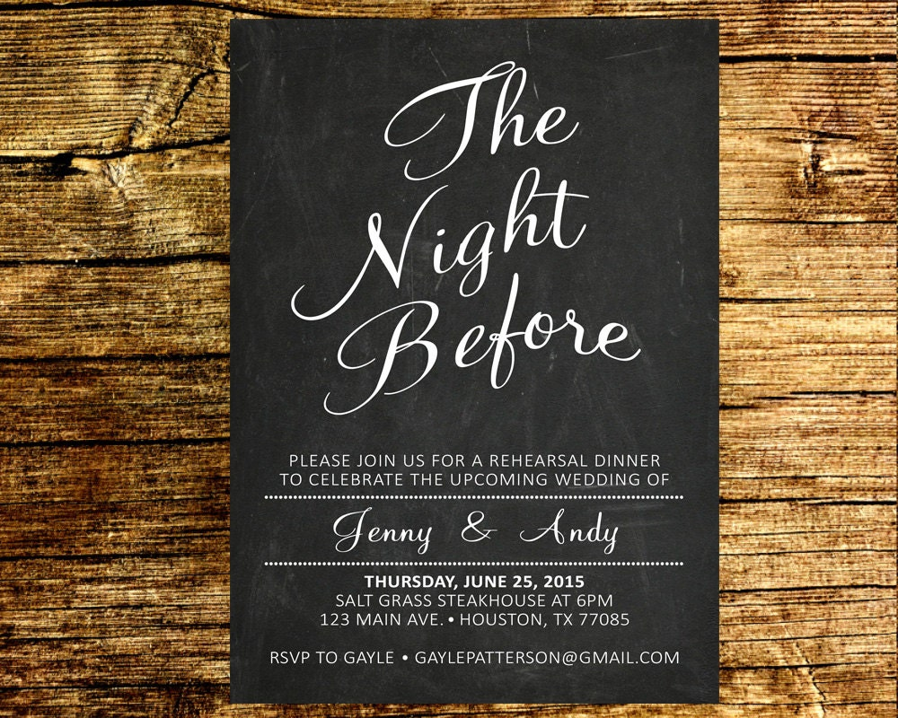 Who Is Invited To The Wedding Rehearsal Dinner: The Night Before Rehearsal Dinner Invitation / Wedding