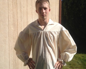 Mens Drop Yoke (XS, S, or M) White or Un-bleached Renaissance Primitive Pioneer Pirate Poet Theatre Shirt