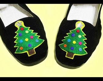 Adorable Christmas Tree  Mary Jane shoes. Flats (Ladies sizes 4, 5, 6, 7, 8, 9, 10, 11) Christmas. Cute!