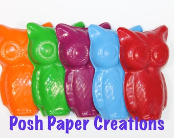 25 Large owl crayons - in cello bag tied with ribbon