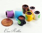 15mm 12/24/50pc Miniature Coffee Mug Tea Cup With Green Logo Sticks Charm Resin Cabochon