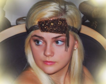 Swarovski Crystal Rose Gold Brown Spike Stud Chain Camo Headband Camouflage