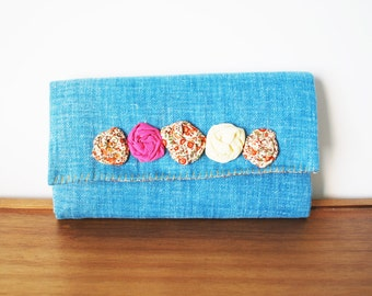 Denim Fabric Trifold Wallet with Rosettes and Floral Interior
