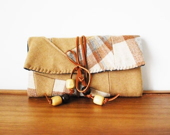 Upcycled Tan Wool and Plaid Wool Trifold Clutch Wallet with Cognac Tie