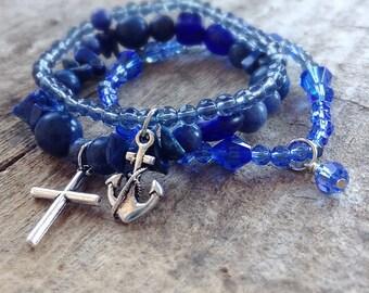 Blue Beaded Bracelets, Stackable Bracelets, Stacking Bracelets, Bohemian Bracelet, Boho Bracelet, Bohemian Jewelry, Set of 3