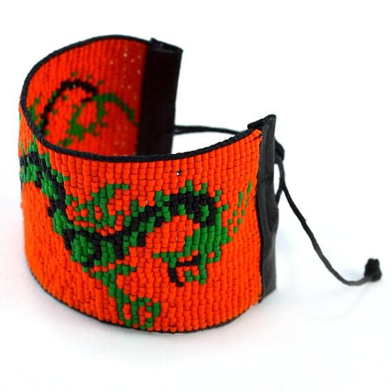 Orange Dragon Unisex Beaded Wrap Bracelet