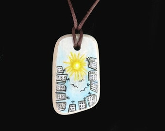 Handpainted Pottery Shard, Genuine Sea Pottery  Top Drilled with Acrylic Miniature Painting, Handmade Necklace on Cord, Painted Stones