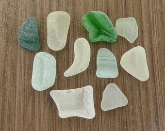 Fat Undrilled Sea Glass Bottle Parts/ Original Surf Tumbled Beach Glass for Wrapping Jewelry Mosaic DIY Smooth Shapes