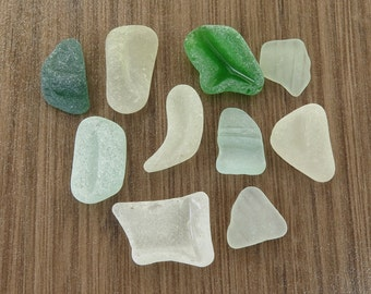 Thick Undrilled Sea Glass Bottle Parts, Original Surf Tumbled Beach Glass for Wrapping Jewelry Mosaic DIY Smooth Shapes