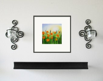 California Poppy Field Painting - 3x3 Original Watercolor Artwork - FREE Shipping in US