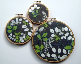 Hand Embroidered Leaves. embroidered fabric in leaf print. select 3, 4 or 6 inch hoop. handmade. hoop art. wall wear. embroidery by mlmxoxo