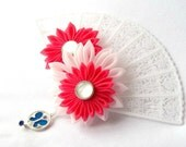 Kanzashi Flower Lace Fan Shaped Hair Clip Pink and Blue