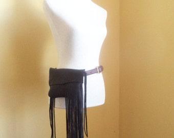 black leather handbag, hip bag belt bag with fringe by Tuscada. Made to order.