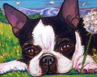 "Custom Pet Portrait  5 x 7""  oil pastel custom portrait  dog cat Or Gift Certificate animal flowers"