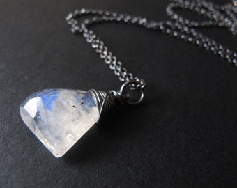 Rustic Faceted Moonstone Necklace Oxidized Sterling Silver