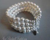 Pearl Bridal Bracelet in 4 multi strands Swarovski pearls in your choice of color with Rhinestone accents bridesmaid wedding jewelry gifts