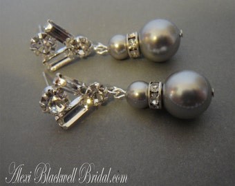 Grey Pearl Earrings with Baguette Rhinestone posts Lt Grey Swarovski Pearls or choice of color bridal wedding mother of the bride jewelry
