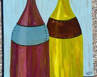 Abstract bottles. Original acrylic on 16x20 canvas.