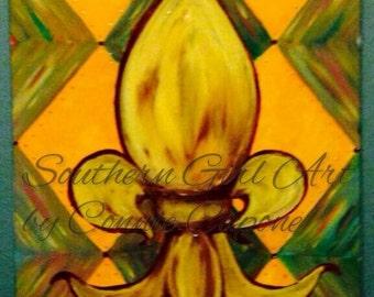 Harlequin fleur de lis 16x20 acrylic on canvas